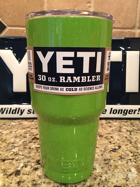 Lime Glitter Green YETI Rambler Tumbler 30oz Powder Coated in Sparkle Lime Green-Authentic