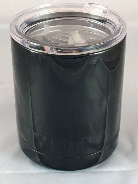 Gloss Black Yeti Rambler Low Ball 10oz w/Lid! Powder Coated Custom Black Gloss