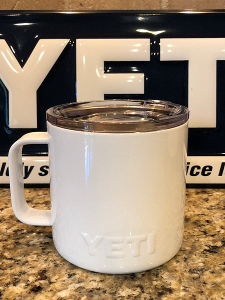 White YETI Rambler Camp Mug-ALL SIZES Available-Powder Coated
