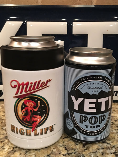 Miller YETI Rambler Colster-Powder Coated Gloss White-Custom Miller High Life logo
