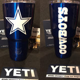Cowboys Yeti Rambler Tumbler-Powder Coated-Dallas Cowboys All Sizes