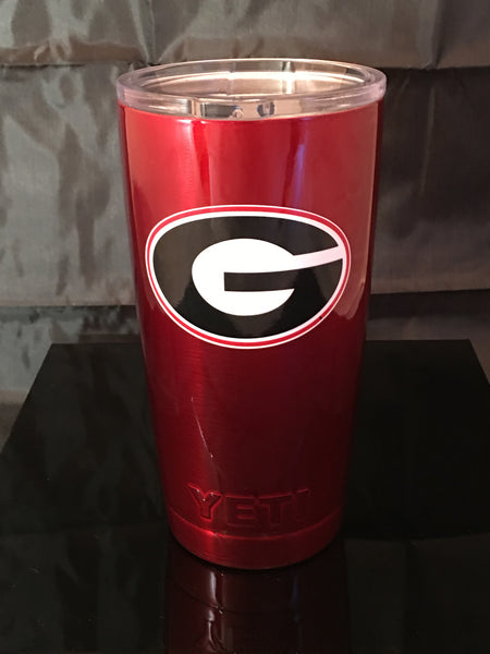 Georgia YETI Rambler ALL SIZES- Powder Coated Candy Red-UGA Georgia Bulldogs