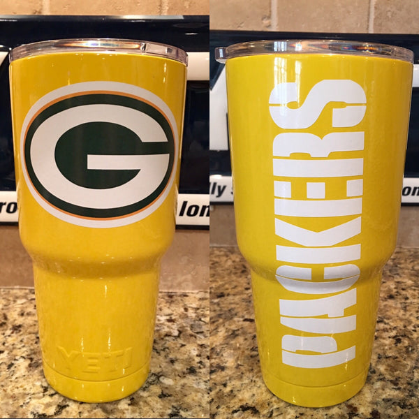 Packers Yeti Rambler Tumblers-Powder Coated Gloss Yellow-Green Bay Packers
