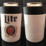 Custom YETI Rambler Colster-Powder Coated Gloss White-Custom Miller Lite logo