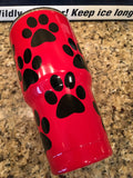 Dog Lover's YETI Rambler Tumblers-Powder Coated with Custom Dog Paw Prints - That's My Yeti