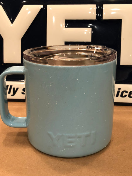 Powder Blue Glitter YETI Camp Mug 14oz w/Lid-Powder Coated-ALL SIZES Available
