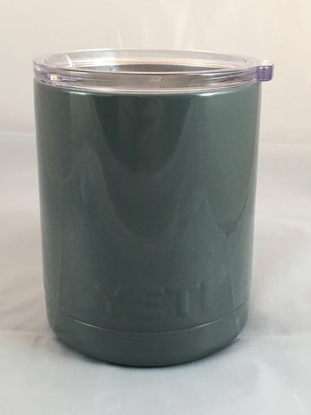 Gloss Gray Yeti Rambler Low Ball 10oz w/Lid! Powder Coated Custom Gray Gloss