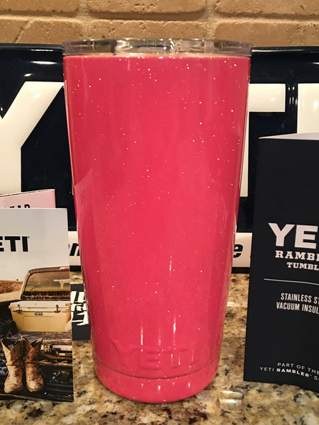 Custom Powder Coated Pink Glitter Yeti Rambler Tumbler and Bottles in Pink Sparkle!! - That's My Yeti