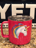 Unicorn Yeti Rambler Camp Mug 14oz-Powder Coated Pink-ALL SIZES Available