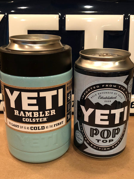 Sparkle Seafoam Custom YETI Rambler Colster with Pop Top Can-Seafoam Glitter