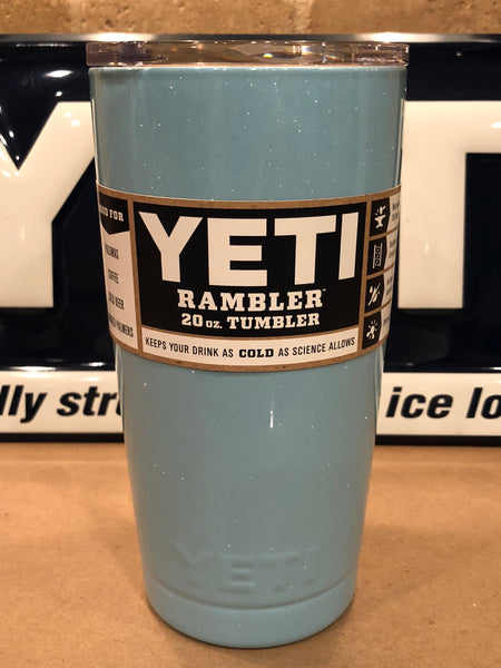 Powder Blue Glitter YETI Rambler 20oz w/Lid-Powder Coated-ALL SIZES Available
