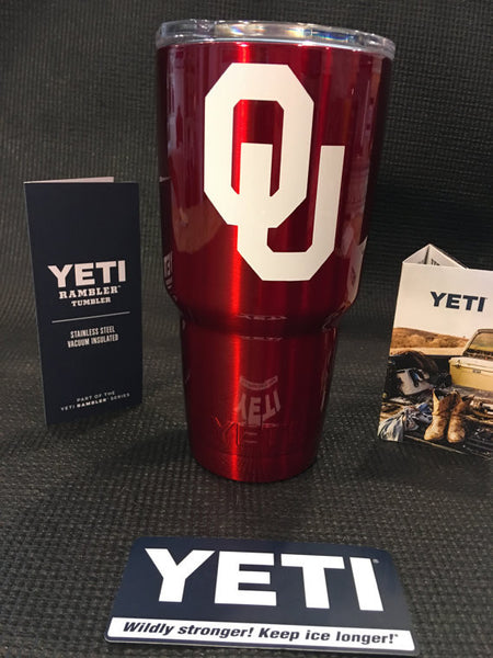Sooners YETI Rambler Tumblers and Bottles-Powder Coated-Oklahoma University Sooners