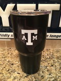 Custom YETI Rambler Tumbler in Powder Coated Matte Black with Reflective Texas A&M Aggies Logo! - That's My Yeti