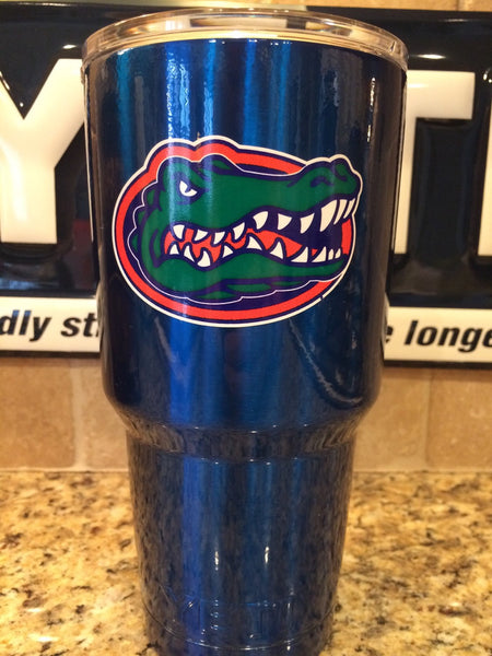 YETI Rambler Tumblers and Bottles in Custom Powder Coated Candy Blue with Florida Gators Logo! - That's My Yeti