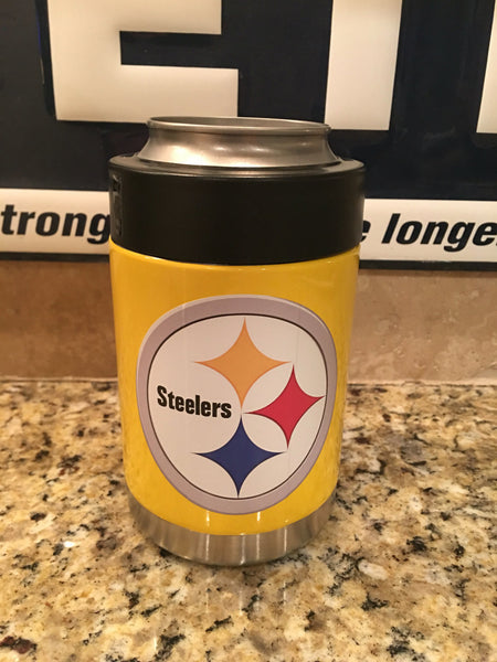 Custom Yeti Rambler Colster in Custom Yellow with PITTSBURGH STEELERS Logo - That's My Yeti