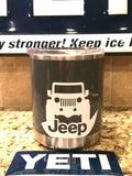 YETI Rambler Lowball in Custom Gray with JEEP Wrangler JK Decal - That's My Yeti