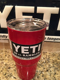 Custom Powder Coated Yeti  Rambler Tumblers 20oz and 30oz in Lipstick Red - That's My Yeti