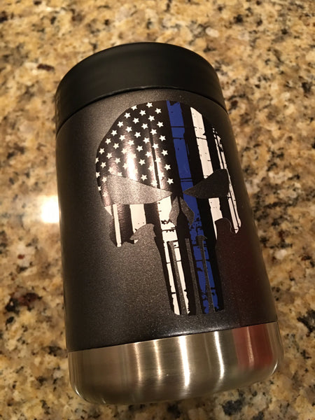 YETI Rambler Colster with Blue Lives Matter - PUNISHER decal - That's My Yeti