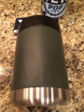 YETI Rambler Colster in Matte NATO Green with Black PUNISHER decal