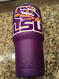 Custom YETI Rambler Tumblers and Bottles Matte Purple with Louisiana State University LSU Tigers Logo - Powder Coated - That's My Yeti