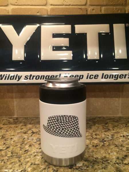 Yeti Colster in Custom White with Houndstooth and Polka Dot ALABAMA CRIMSON TIDE Logos - That's My Yeti