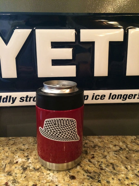 Custom Yeti Colster in Custom Gloss Crimson with Houndstooth and ALABAMA CRIMSON TIDE Logos - That's My Yeti