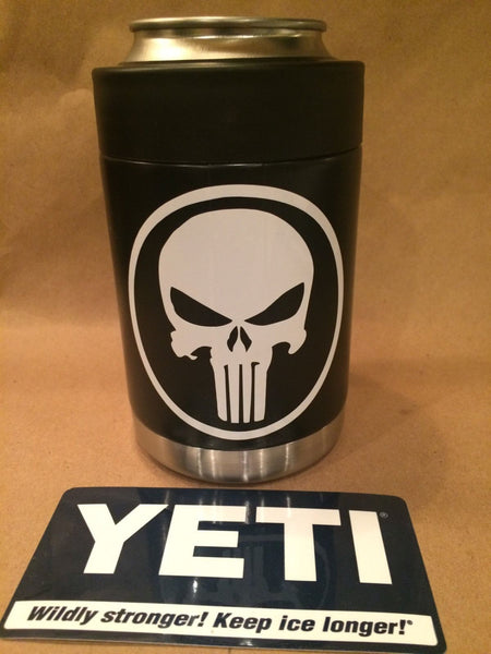 YETI Rambler Colster in Satin Black with White PUNISHER Decal - That's My Yeti