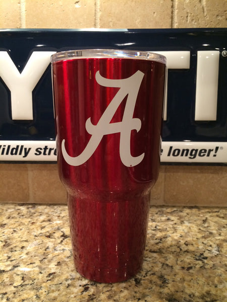 Custom YETI Rambler Tumblers and Bottles Powder Coated Lollipop Red with ALABAMA Crimson Tide Logo - That's My Yeti