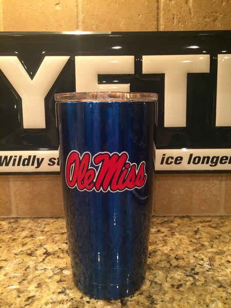 YETI Rambler Tumblers and Bottles in Custom Blue with Ole Miss Logo - Powder Coated