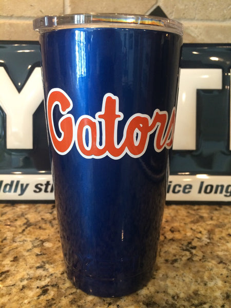 YETI Rambler Tumblers and Bottles Custom Blue with Florida Gators Logo - Powder Coated - That's My Yeti