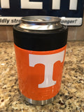 Custom Yeti Rambler Colster in Custom Gloss Orange with University of Tennessee Logo UT - That's My Yeti