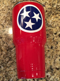 YETI Rambler Tumbler/Colster/Low Ball in Lipstick Red with Tennessee Tri-Star Logo - Powder Coated - That's My Yeti