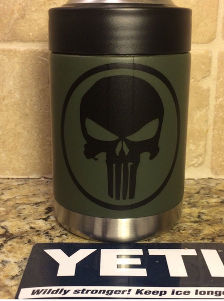 YETI Rambler Colster in Matte NATO Green with Black PUNISHER decal - That's My Yeti