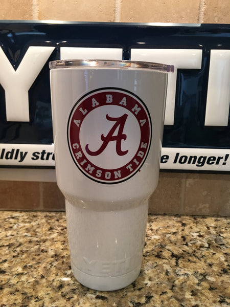 Custom YETI Rambler Tumblers 20oz or 30oz Alabama Crimson Tide in Snow Cone White- Powder Coated - That's My Yeti