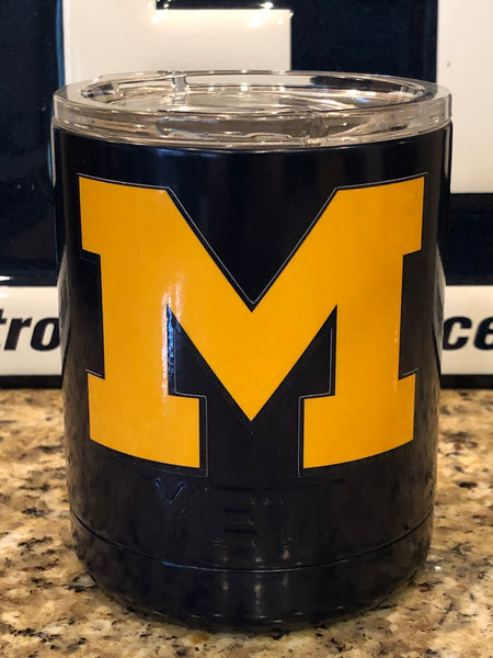 Michigan YETI Rambler Low Ball 10oz w/Lid- Satin Navy Blue-Michigan Wolverines