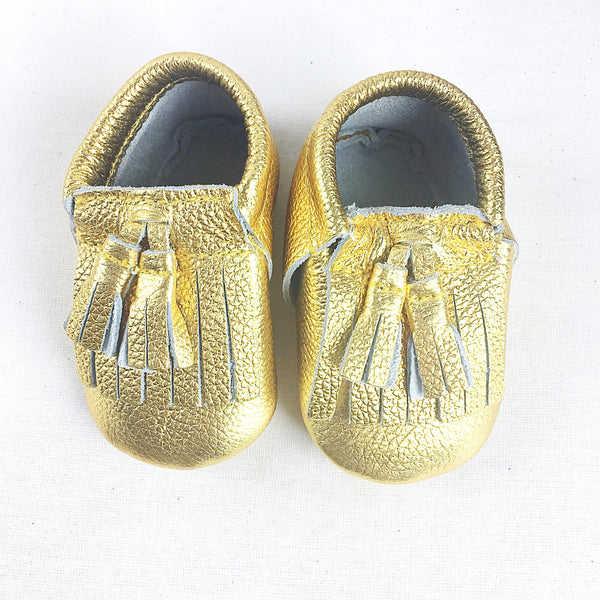 Medallion toddler/kids fringe moccs