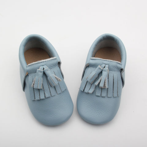 Blue lagoon toddler/kids fringe moccs