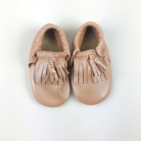 Rosé toddler/kids fringe moccs