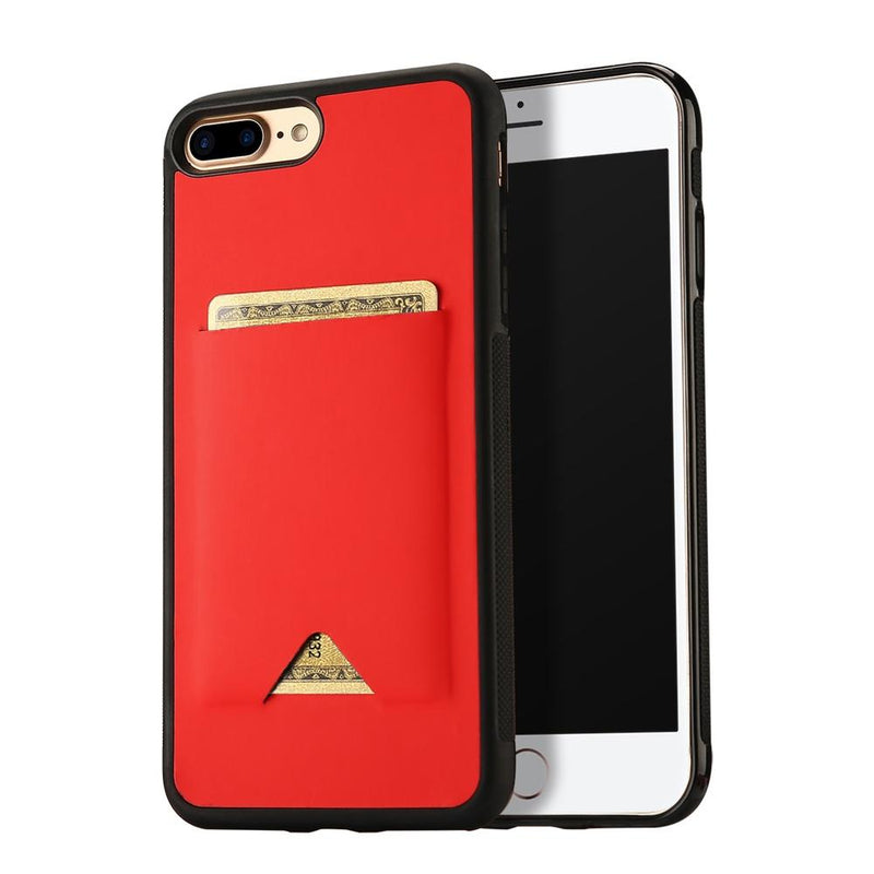 PU Leather skin TPU Case for iPhone 8 Plus - Red
