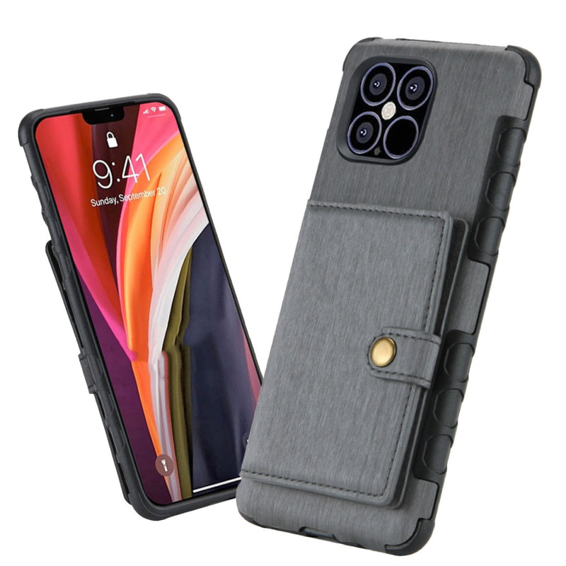 Brushed Texture Shockproof PU + TPU iPhone 12 Pro Max Case