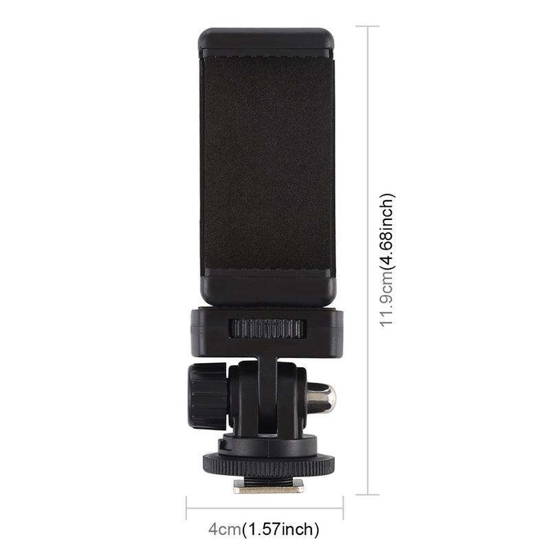 Phone Clamp with 1/4 inch Screw Hole & Cold Shoe Tripod Mount Adapter - Black