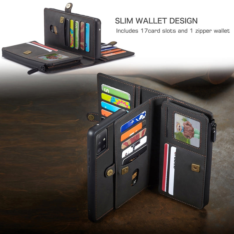 CASEME Split Leather Multi-slot Wallet Case for Samsung A51