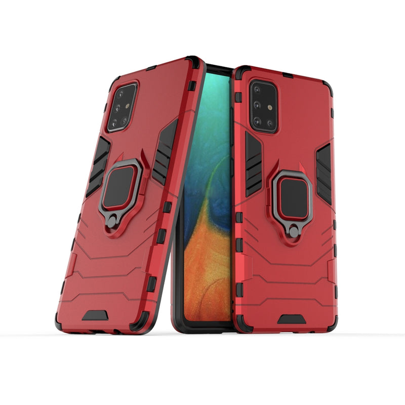 Armor Case w/ Ring Stand & Magnet for Samsung A71 - Red