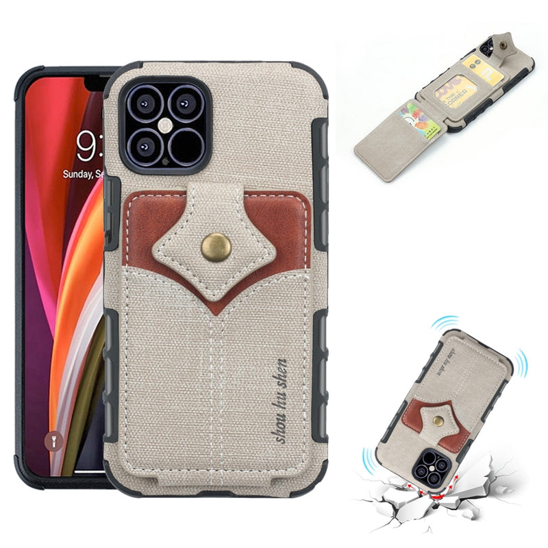 Cloth Texture + PU + TPU Protective iPhone 12 Pro/iPhone 12 Case