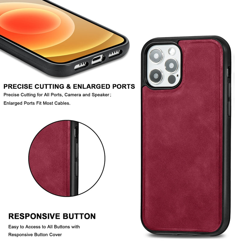 PU Leather Skin Magnetic Patch TPU Shockproof Magsafe iPhone 12 / 12 Pro Case CellMart