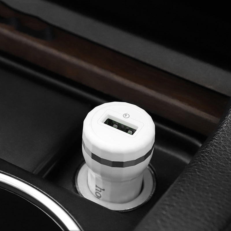 Hoco 18W QC3.0 USB Car Charger - White CellMart