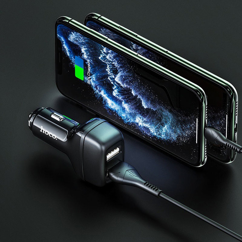 HOCO Dual USB port Car charger With Lightning Cable