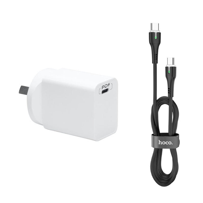 18W PD Fast Charge Type C Wall Charger & Type C To Type C Cable CellMart