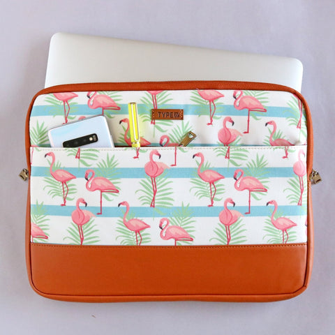 "Laptop Sleeve for 13.3"", 15.6"" MacBook & PC, Designer Sleeves with Floral, Flamingo, Chevron, Checks, Stripes Print by Type7"