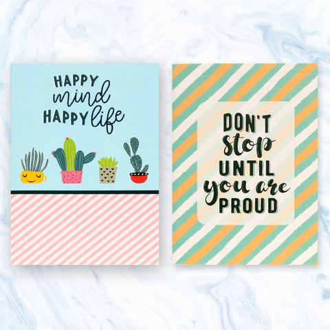 Set of 2 Notebooks -  Happy Mind & Don't Stop